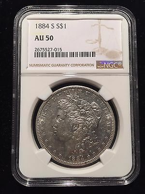 1884 S Morgan Silver Dollar NGC AU50 About Uncirculated U.S. Coin S$1 Key Date