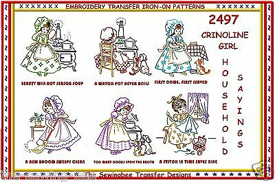 6-Crinoline Girl Household Sayings Embroidery Transfer for Tea Towels 2497