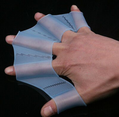 1 Pair Swim Gear Fins Hand Webbed Flippers Silicone Training Paddle Dive Glove