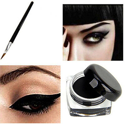 Hot Pro 1Pc Waterproof Eye Liner Eyeliner Shadow Gel Makeup Cosmetic+Brush Black