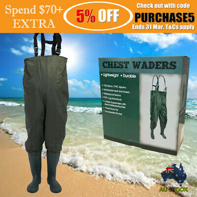 Elastic Tough 70D Nylon Fishing Trousers PVC Boots Wader (AU 8.5 | EU 43)