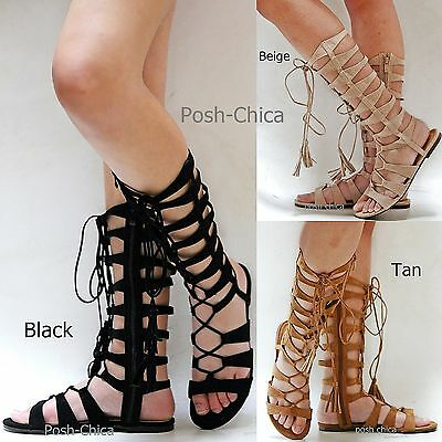 66705dfe385 New Women Iim9 Tan Black Beige Strappy Lace Gladiator Mid-Calf Tall Sandals