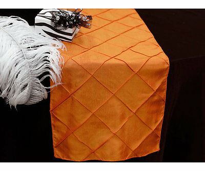 275cm Pintuck Table Runner Orange Wedding Party Table Decoration New