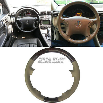 Tan Leather Wood Steering Wheel Cover Cap for 00-07 Mercedes Benz W203 C-Class