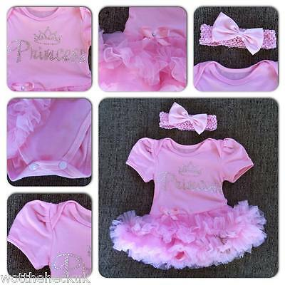 Baby Girls Cute Princess Party Tutu Romper Headband Outfit Birthday Diamante