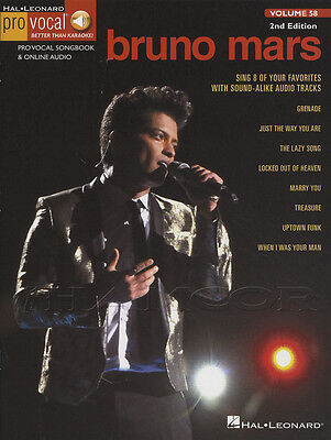 Bruno Mars Pro Vocal Volume 58 Sheet Music Book with Audio Access Uptown Funk