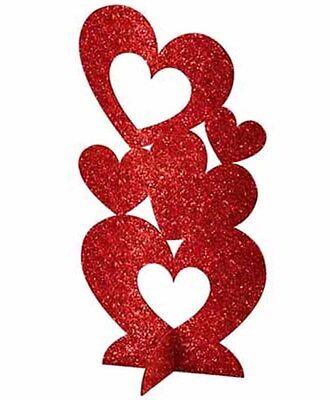 Valentines Red Glitter Heart Centerpiece Table Decoration 3D
