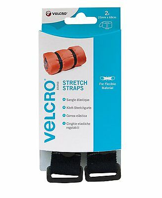 VELCRO® Brand adjustable stretch straps with buckle pack of 2 25mm X 68mm