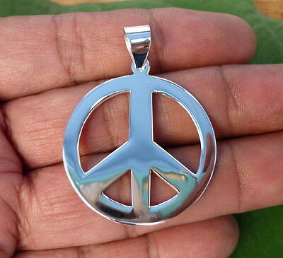 NEW 925 Sterling Silver Peace Sign Symbol Charm Necklace Pendants 31 mm Large