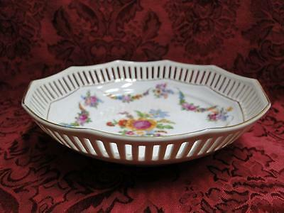 """Germany, Reticulated Bowl, 7 3/8"""" with Floral Garlands and Center"""