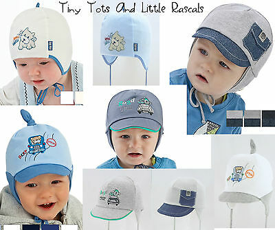 Baby Boys Toddler Spring Autumn Cotton Elastic Hat Size 0 - 24 mths 2 - 4 Years