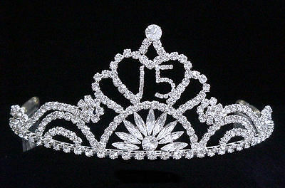 """Crystal Rhinestone Sweet 15 Quinceanera Tiara Silver w/Combs.Available GD.3""""Tall"""