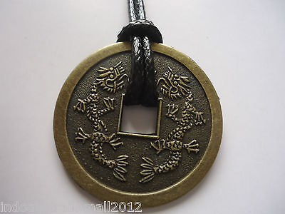 Chinese Medallion Coin Necklace Phoenix & two  Dragons Lucky charm 38mm(FS-CO12)