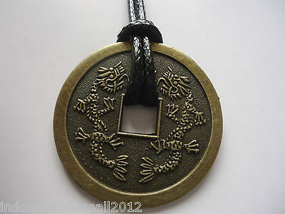 Chinese Medallion Coin Necklace  two  Dragons Lucky charm 38mm(FS-CO12)