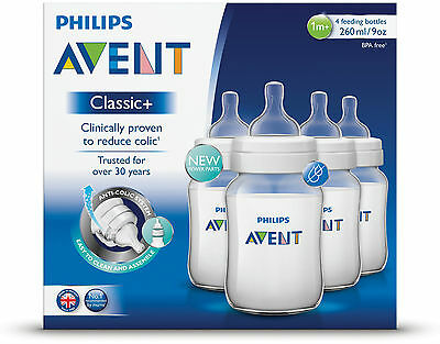 PHILIPS AVENT CLASSIC FEEDING BOTTLE 260ML 4 PACK - baby bottles BPA free