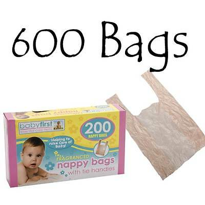 600 x BabyFirst Fragranced Disposable Nappy Bags Tie Handles Perfumed Sacks