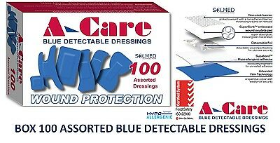 Box 100 X Assorted Blue Bandaids Detectable Strips Sterile Waterproof