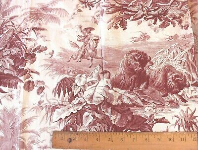 """Rare French 19thC Hunting  Toile Fabric Exotic Animals~25""""L X 31""""W~Collectors"""