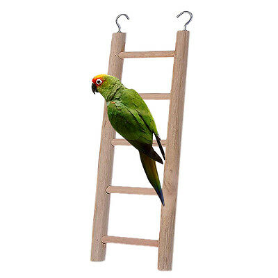 Wooden Ladder Parrot Bird Pet Budgie Rodent Hamster Mouse Gerbil Cage Toys