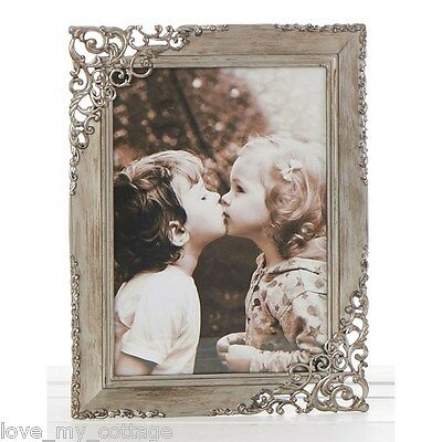 Vintage Shabby Chic RUSTIC STEEL Lace Metal Photo Picture Frame Wedding Gift 3x5