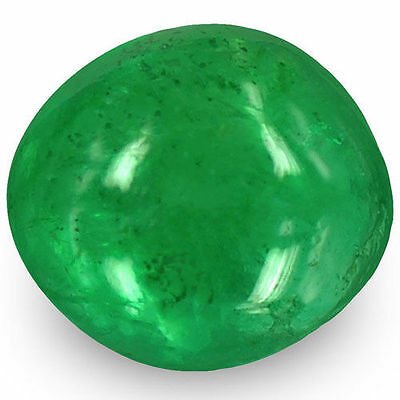 0.76-Carat Oval Cabochon-Cut Natural Lively Green Emerald from Zambia