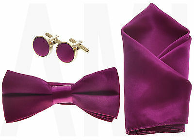MENS BOYS or BABIES FUCHSIA BOW TIE, CUMMERBUND, CUFFLINKS, HANDKERCHIEF or  SET