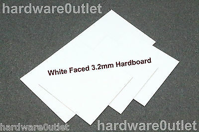"3.2 mm White Faced Hardboard Sheet 600 x 300 mm 24"" x 12""  - Excellent Quality"