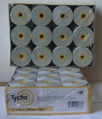 """Lot of 12 TYCHO Thermal Paper Rolls, 3"""" x 91.8 """", 2P7528"""
