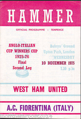 1975/76 WEST HAM UNITED V A.C. FIORENTINA 10-12-1975 Anglo-Italian Cup Final