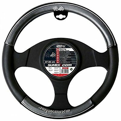 Car Steering Wheel Cover Glove Real Leather Carbon Fibre Look Universal X-Spider