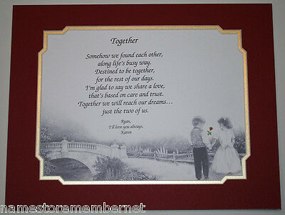 """Together"" Personalized LOVE Poem Gift, PERFECT Valentine's Day Gift for Her/Him"