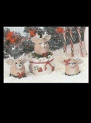 """Ceramic Bisque 3-Reindeer """"Egg Pressions"""", Dona 1225, U Paint, Ready to Paint"""