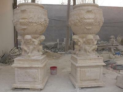 Pr. Of Hand Carved Travertine Marble Estate Cherub Urns - Mcu2