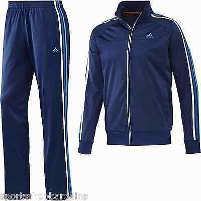 Mens Adidas Ess 3s Pes TS Full Tracksuit Blue Suit Bottoms Pants Size New