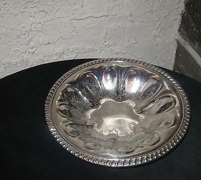 Vintage silverplate bowl footed Unique design lovely etching