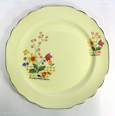 """LIDO W.S. GEORGE CANARYTONE 9"""" Plate - GAYLEA Pattern with Platinum Trim # 141A"""
