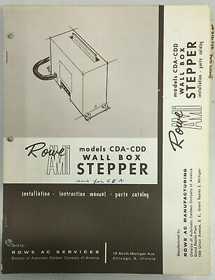 Jukebox Manual - Rowe Ami Model Cda-Cdd Wall Box Stepper - Install-Instruc-Parts