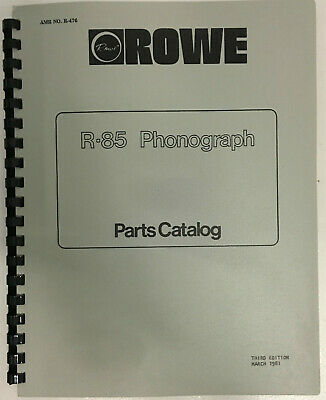JUKEBOX MANUAL - ROWE R-85 PARTS CATALOG - AMR No.476