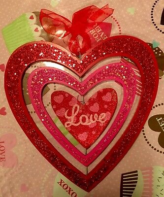 Valentines Day Door Wreath Heart Wall Hanging Decor Valentines Day Plaque Sign