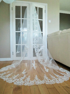 Bridal super LUXURY wedding cathedral tulle flower lace veil with comb ivory 3m