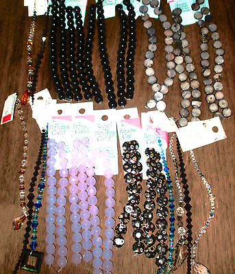 Huge Lot of NEW Beads! Stone, Swarovski Crystal, Glass! Black Purple Blue Brown