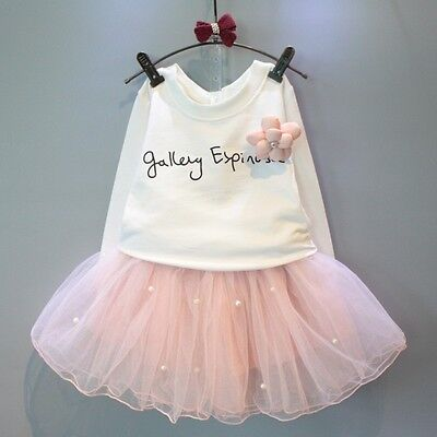 Baby Girls Party Tops T-shirt Tulle Skirt 2pcs Outfits Set Dresses Clothes 2-7Y