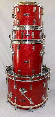 Vintage Red Glitter/Sparkle MIJ Early 1970's Crest Drum Set w/ Ludwig drum heads