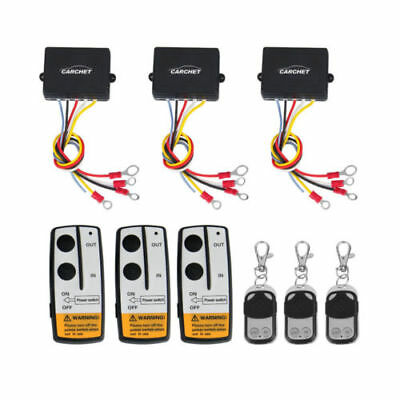 3X CARCHET Wireless Winch Remote Control Kit DC12V 50ft for Truck Jeep SUV ATV