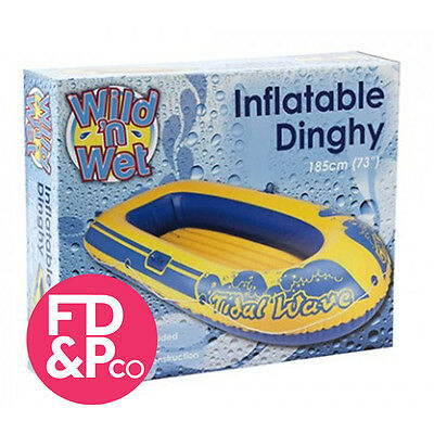 """73"""" Rubber Boat Dinghy Inflatable Raft Childrens Swimming Pool Beach Toy"""