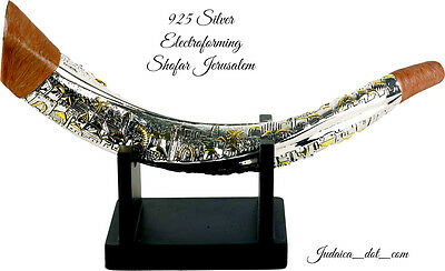 Silver Plated Giant Shofar Jerusalem Of Gold With Stand Judaica Gift From Israel