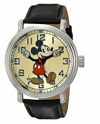"Disney Men's 56109 ""Vintage Mickey Mouse"" Wrist Watch Black Leather Band Battery"