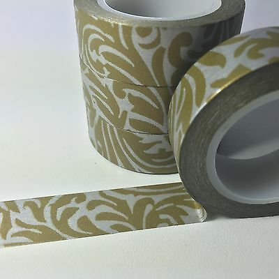 Washi Tape Silver Damask 15Mm Wide X 10Mtr Roll Scrap Plan Craft Wrap