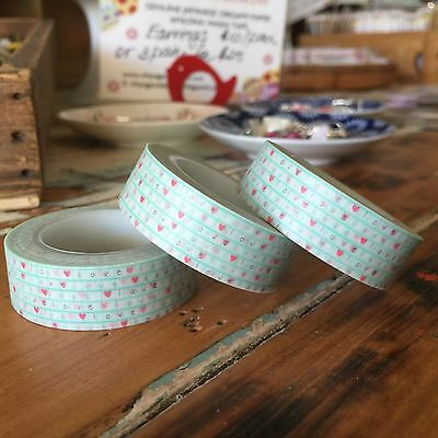Washi Tape Mini Love & Hearts On Mesh 15Mm Wide X 10Mtr Roll  Plan Craft Wrap