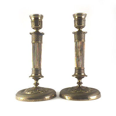 Pair: Antique French Empire Gilt Brass Bronze Ormolu Candlesticks, 19th C.